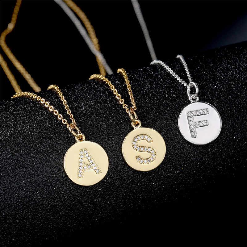 NEWBUY 2019 moda miedź łańcuszki na szyję luksusowy kwadratowe cyrkonie 26 naszyjnik z wisiorkami w kształcie liter dla kobiet mężczyzn Party biżuteria