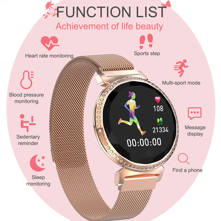 Image 2 - ASKMEER MC11 Women Smart Bracelet Luxury Rhinestone Smart Band Heart Rate Blood Pressure Monitor Female Message Reminder Watch-in Smart Watches from Consumer Electronics