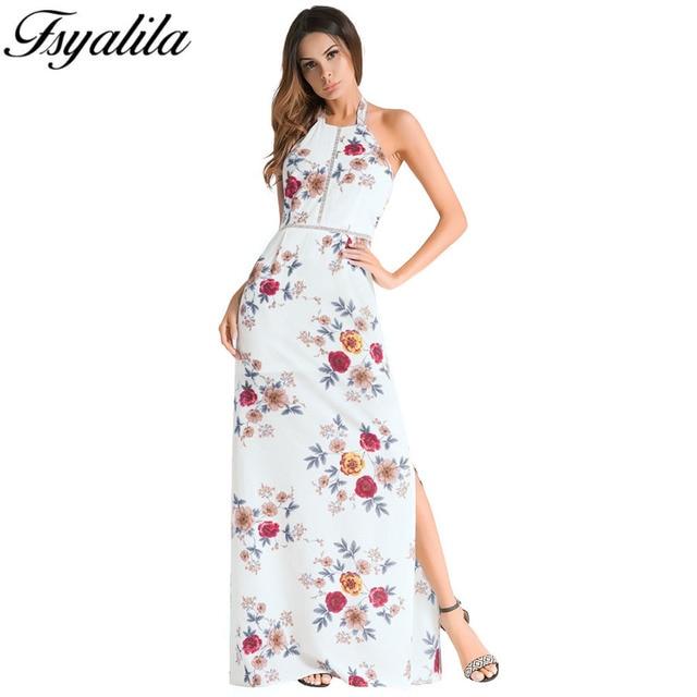 d0c20bfb8bfcf Floral Print Maxi Boho Dress High Slit Halter Backless Sleeveless Off  Shoulder 2018 Summer Beach Dress Elegant Sexy Long Vestido