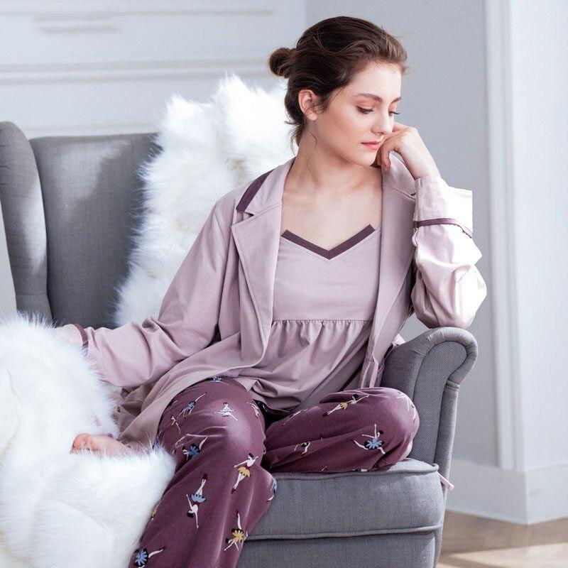 Cotton Pajamas for Women Elegant 3Pieces Sleepwear Female Sexy Cartoon  print Pajamas Set Coat+Vest 12cec8611