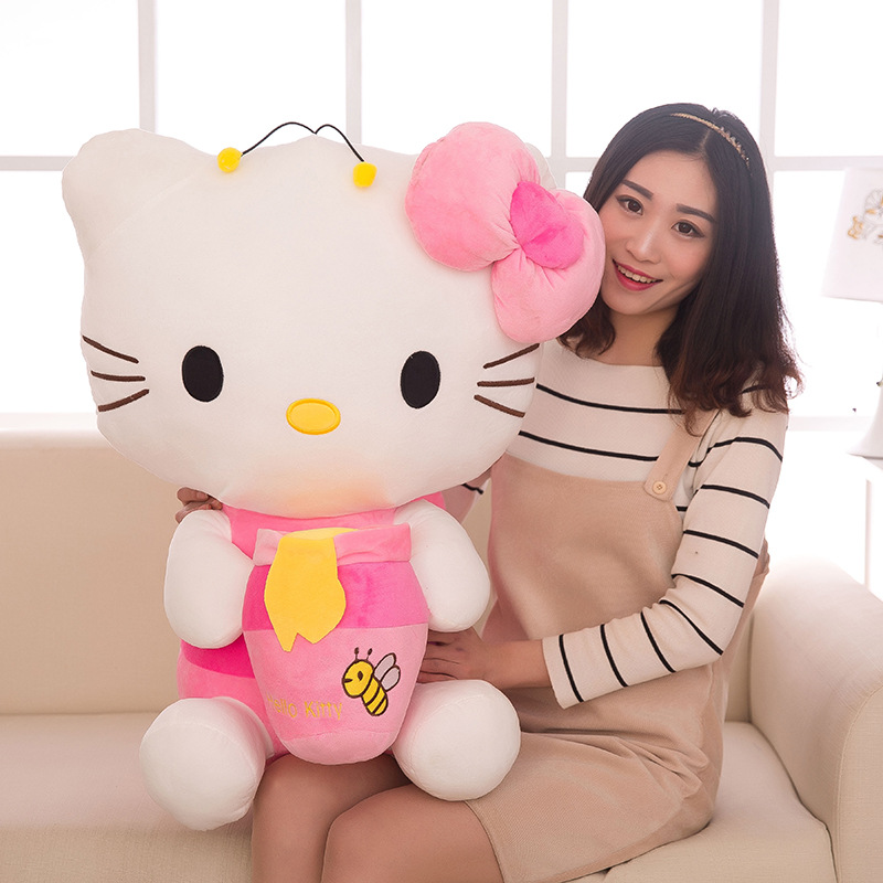 Top Quality Big Bee Hello Kitty Plush Toys Sitting Height 30cm-85cm Soft Stuffed Doll for Children Kids Christmas Birthday Gifts стоимость