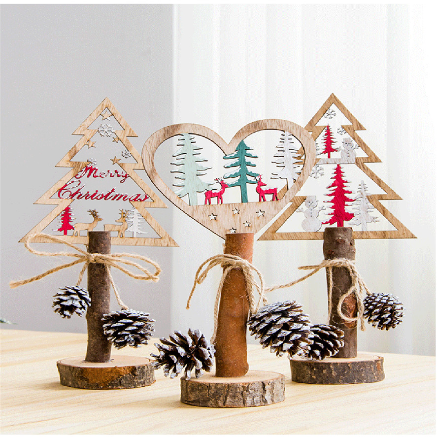 Wooden Christmas Trees.Us 5 64 36 Off New Wooden Christmas Tree 1pc Creative Home Decor Gifts Painted Christmas Tree Wooden Tabletop Xmas Decoration 30 In Trees From Home