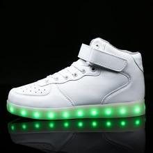 Jaway New kids Led usb charging glowing Sneakers Children hook loop Fashion luminous shoes girls' boys' cool flash skate shoes