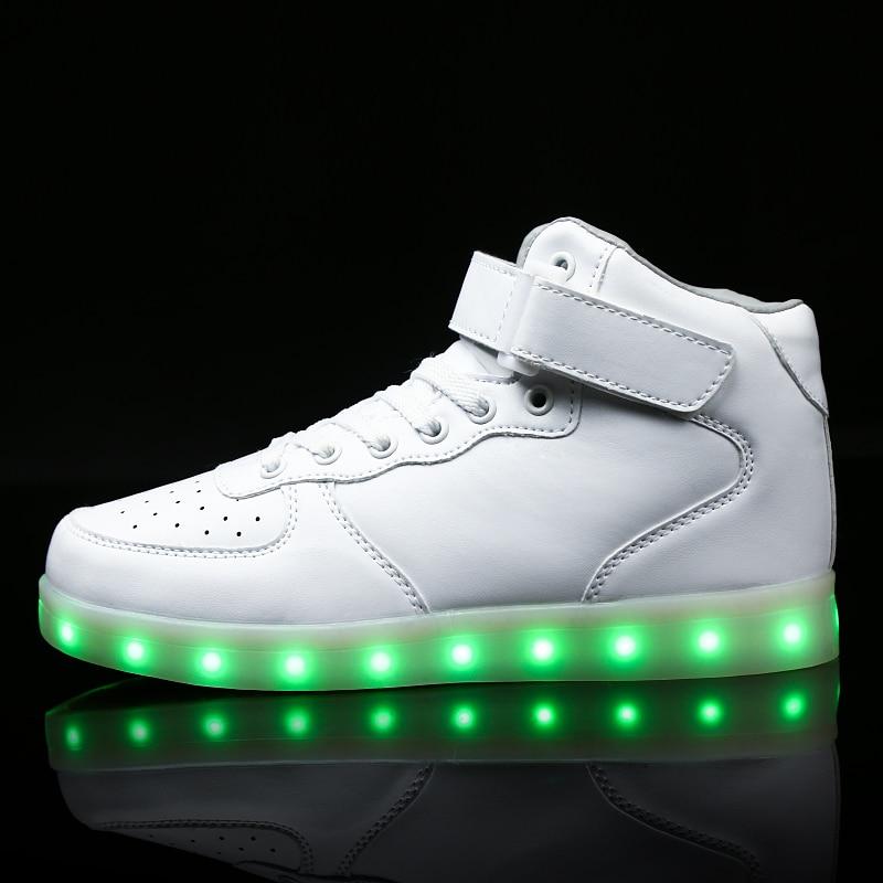 Дети LED USB зарядка светящиеся Спортивная обувь детская липучка модные светящиеся туфли для мальчиков и девочек для мужчин и женщин скейт обувь #25- 46