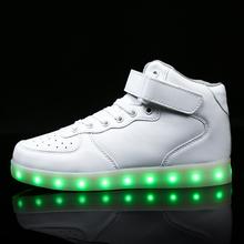 dzieci LED USB ładowanie świecące sneakers dzieci hak pętli moda świetliste buty dla dziewcząt chłopców mężczyźni kobiety skate buty 25-46 tanie tanio buty na co dzień Zaczep pętli 14T 5T 6T 9T 8T 12T 7T 11T 4T 10T 14T 13T 3T Syntetycznych wiosna lato Oświetlone Masz