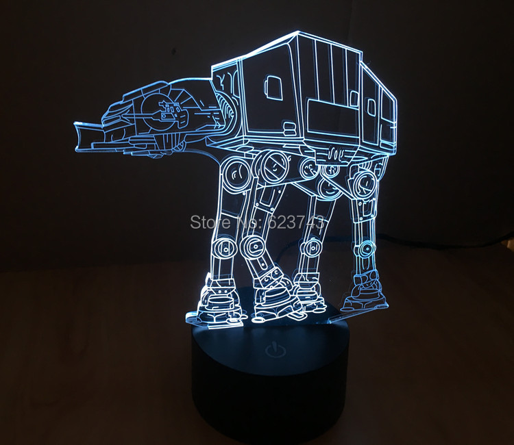 6 Pieces/lot SmartTouch Mood light colorful Imperial Walker AT-AT Star Wars Table Lamp 3D Engraving LED night light