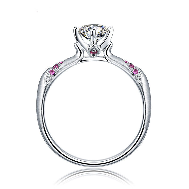 Engagement Ring Women Cubic Zirconia Brilliant Round Cut Solitaire Red Color Gems Ring Genuine 925 Sterling Silver Marriage Ring