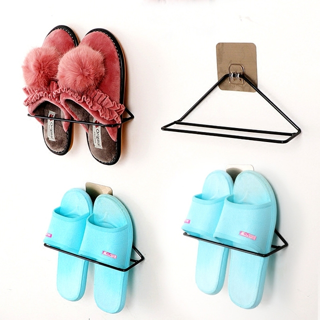 b316b2729 Hanging wall shoe rack Stand with stickers Organizer storage double  Slippers shoe racks for Bathroom home Decor Display Shelf