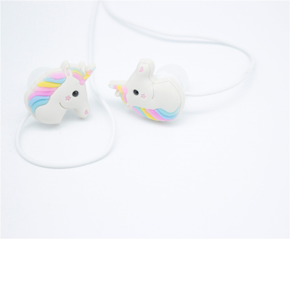 NEW Unicorns Cartoon Earphones Colorful Rainbow Horse In-ear Earphone 3.5mm Earbuds Cable Adapter fashion professional in ear earphones light blue black 3 5mm plug 120cm cable