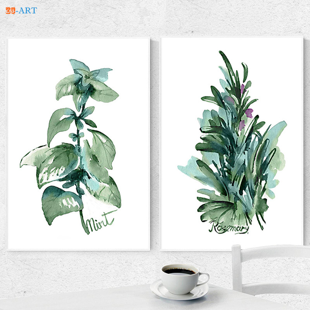Framed Canvas Painting Herbs Kitchen Art Prints Green Leaves Mint Rosemary  Wall Decoration Watercolor Kitchen Herbs