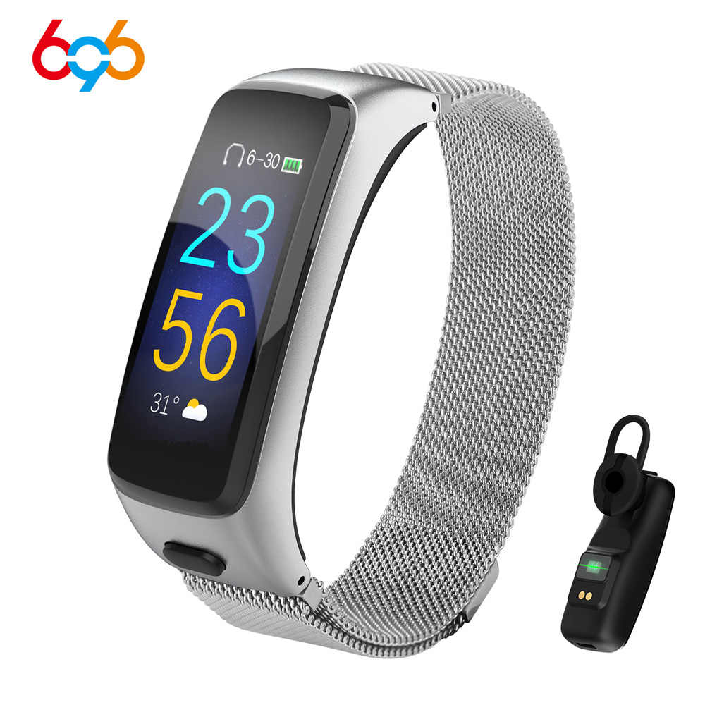 BY51 2 in 1 Passometer Heart Rate Blood Pressure Monitor Combo Smart Bracelet Bluetooth Earphone Headset Fitness Tracker Watch