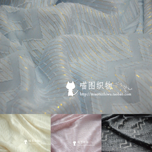 Gold thread silk bright wave jacquard fashion fabric DIY handmade cloth cat pattern