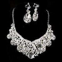 Bridal Wedding Dress Two Sets Big Rhinestone Necklace Earring Beauty Fashion Simple Dress Accessories