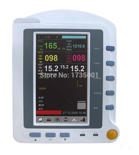 CMS6500 6-Parameters ICU Patient Monitor, ECG + NIPB + SPO2 + PR + RESP + TEMP, Touch Screen Medical Monitoring Device