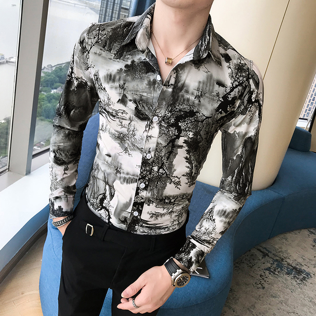 Korean Slim Fit Men Shirt Brand New Long Sleeve Print Mens Casual Shirts Night Club/Party/Prom Dress Shirt Male Clothing 3XL M