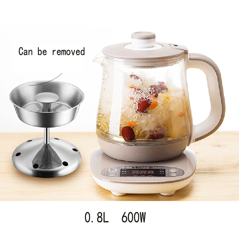 D, Теплоизоляция Электрический чайник приуроченный стекло сохранения здоровья горшок цветок чай Брюэр 0.8L микрокомпьютер управление A08N5