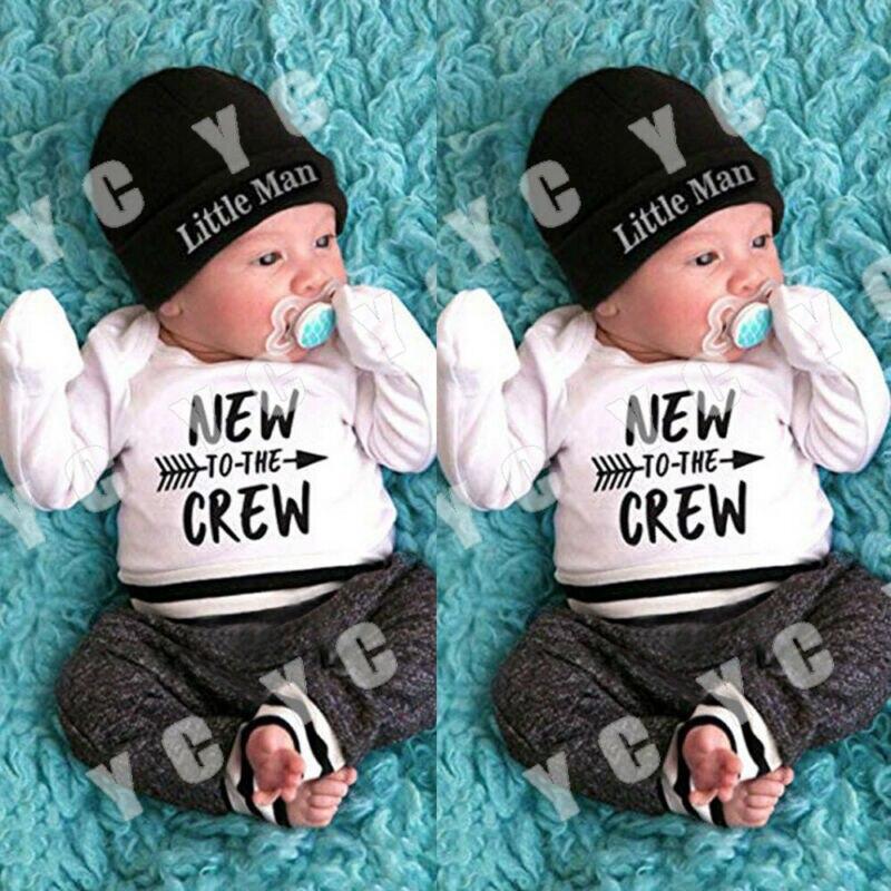Newborn Baby Boy Clothes Letter Print Romper Tops +Long Pants+Hat 3PCS Outfits Newborn Baby Clothes