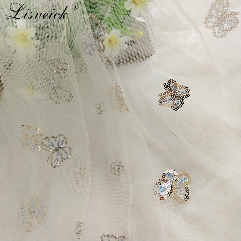 1y exquisite butterfly sequin embroidery Embroidered Gauze Sequin Tulle Fabric for Party Wedding Veil Dress Skirt Clothes DIY