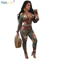 HAOYUAN Autumn Winter Two Piece Sets Tracksuit For Women Long Sleeve Flower Print Zipper Jackets And