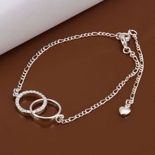 Free shipping wholesale price fashion Insets Double Circle 925 jewelry silver plated women foot anklet top quality SMTA005