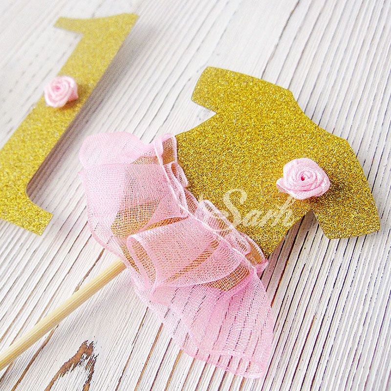 Happy Birthday Party Gold First Year Carts Cake Topper Cake Decoration Wedding Party Festival Lovely Gift CK510