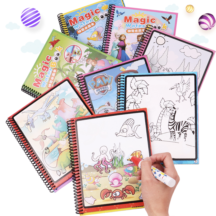 цены 8 Designs Kids Educational Toys Water Magic Drawing Book Water Painting Board Coloring Book Drawing Toys with Magic Doodle Pen
