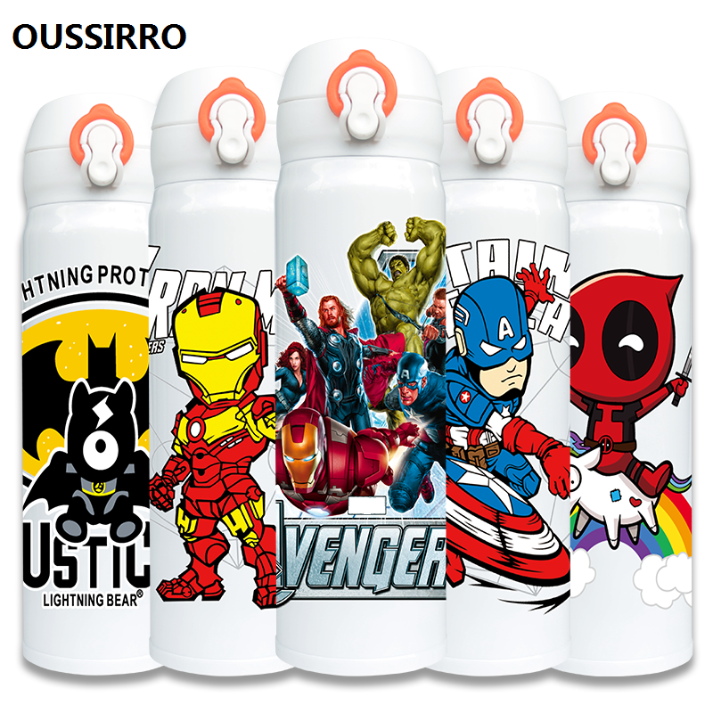 OUSSIRRO Super Hero Avenger Justice League Infinity Mugs With Cover Pure Color Thermos Mugs Cup Kitchen Tool Gift