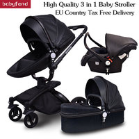 Brand 3 in 1 baby stroller folding two way push luxury high landscape baby carriage with comfortable car seat trolley babyfond
