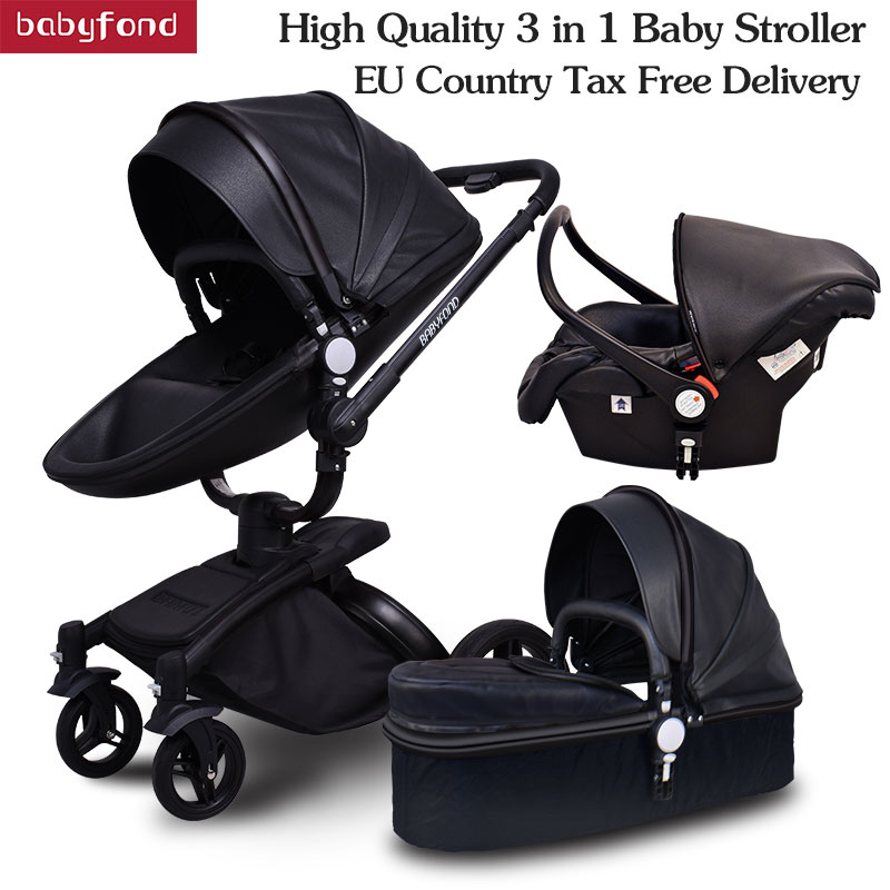 Brand 3 In 1 Baby Stroller Folding Two-way Push Luxury High Landscape Baby Carriage With Comfortable Car Seat Trolley Babyfond