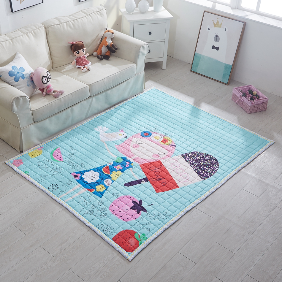 Girl Print Quilted Mat For Home Decoration,100% Cotton Play Mat For  Children,150x200cm Bedroom Floor Rug,rectangle Carpet