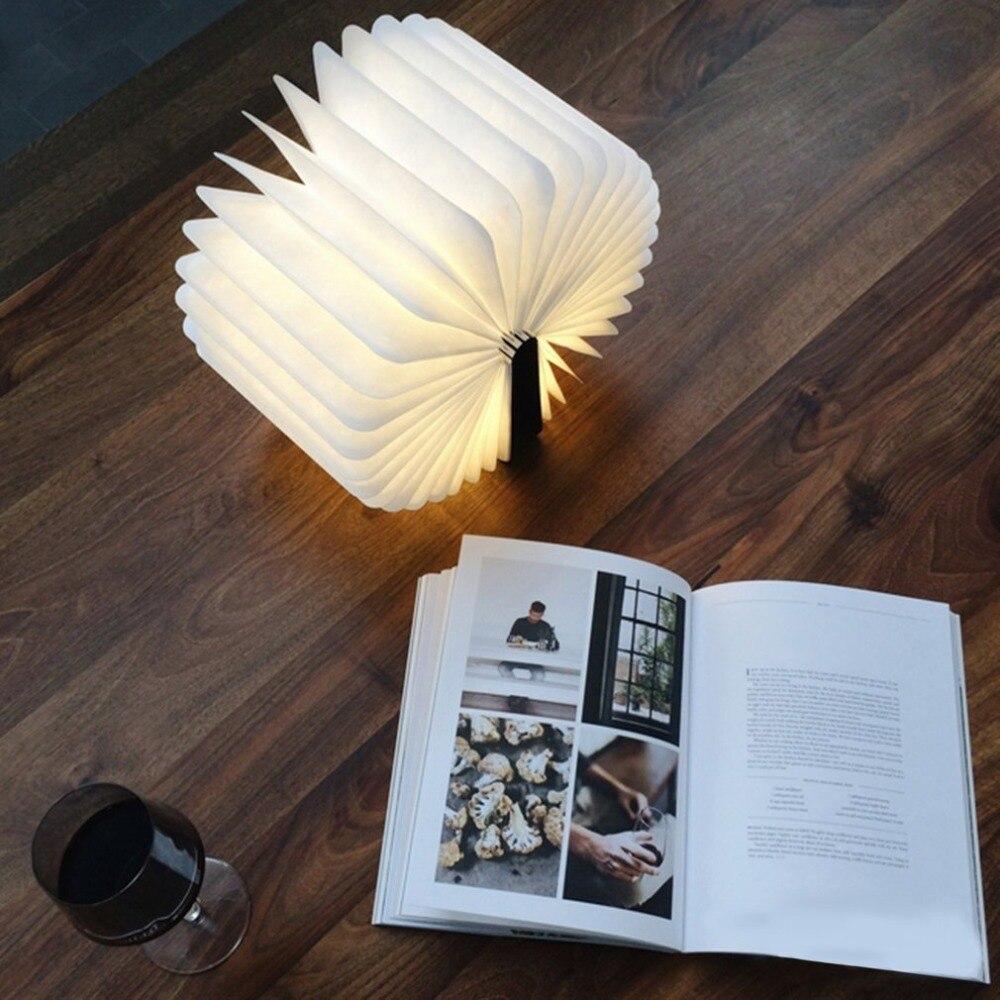 (usb Gadgets) Innovative Usb Aufladbare Led Faltbare Holz Buch Form Schreibtisch Lampe Nachtlicht Klemmleuchte Für Home Dekoration Warme