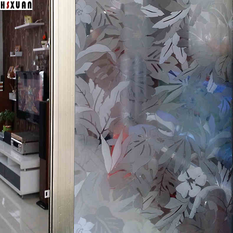 92 100cm Hsxuan brand etched PVC 3D Banana leaf patterns Decorative static stickers sliding glass door