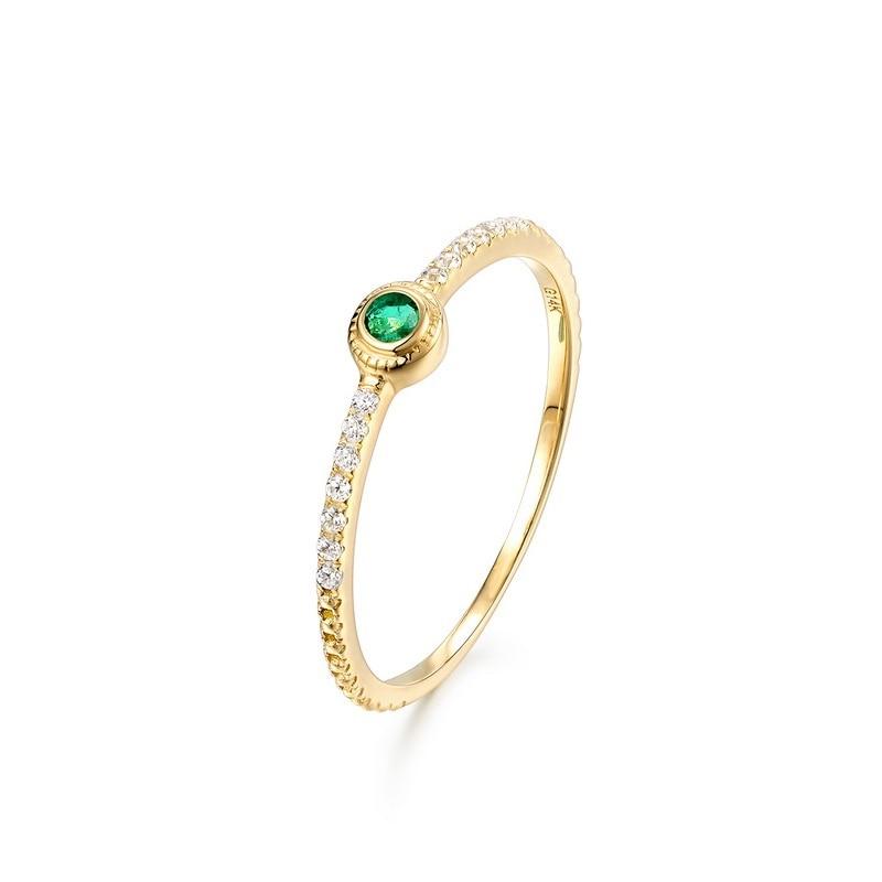 JXXGS Solid 14K Emerald Gemstone Round Shape Engagement Women Classic Fine Jewelry Cubic Zirconia Ring For Women Girl Gift