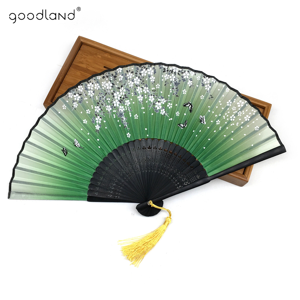 Gratis levering 1 stk Cartoon Butterfly Print Fan Folding Hollow Carved Hand Fan Xmas julegavefest favoriserer dekorasjon