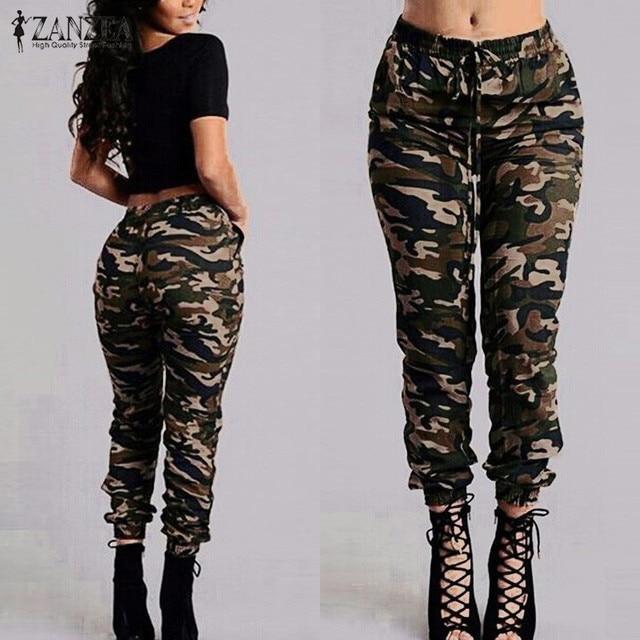 49b5fa03e091eb ZANZEA 2016 Autumn Army Cargo Pants Camouflage Printed Pants Trousers  Military Elastic Waist Women Pants Plus
