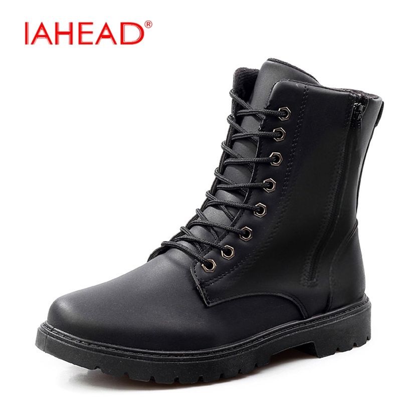 IAHEAD Men Ankle Boots Lace-Up Leather Winter Boots Short Plush Warm Military Boots Chelsea Boots Men sapatos masculino MU528 цены онлайн