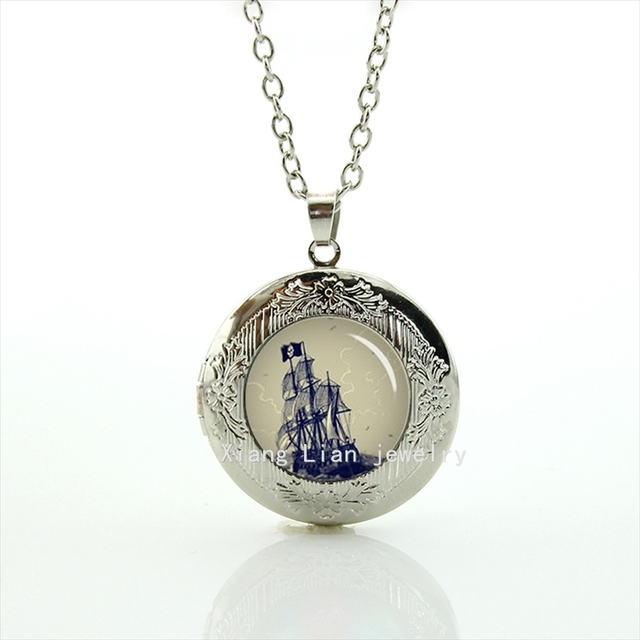 Collares New Arrival Friendship Fashion Pirate Ship Antique Nautical Seas Gifts, Personalized Battleship Locket Necklace T767