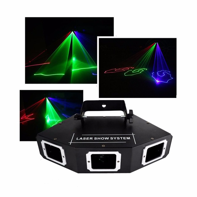 AUCD 3 Lens RGB Colorfull Beam Scan Optical Network Laser Lights 9CH DMX Disco Home Party Xmas DJ Projector Stage Lighting A-X3