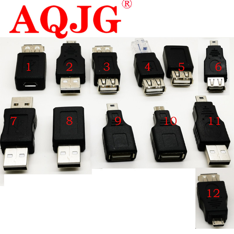 12Pcs/Set OTG USB 2.0 A Male To Female Micro USB Micro-B Mini-B Changer Data Converter Adapter High Quality