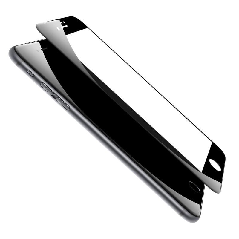Fibra De Carbono Brilhante de vidro temperado de 0.26mm Para iphone 7 3D Curvo Borda de Vidro Revestido em Para iphone 7 Tela 7 Plus protetor Filme