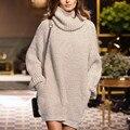 Novo 2016 mulheres de inverno de gola alta de malha bordado moda de manga comprida de malha blusas vestido Plus Size