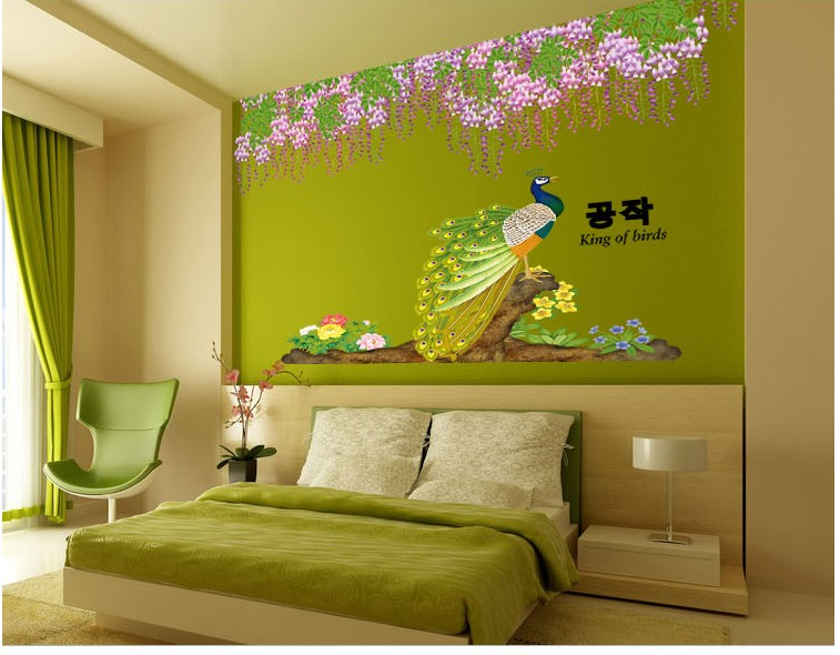 peafowl flowers trees home decor poster wall sticker diy vinyl ...