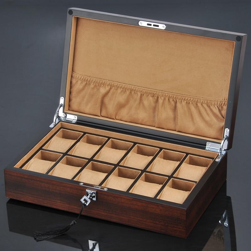 Top 12 fentes en bois montre boîte d'affichage nouvelle montre et bijoux cadeau boîtier en bois brun montre stockage hommes mécanique montre boîte W097