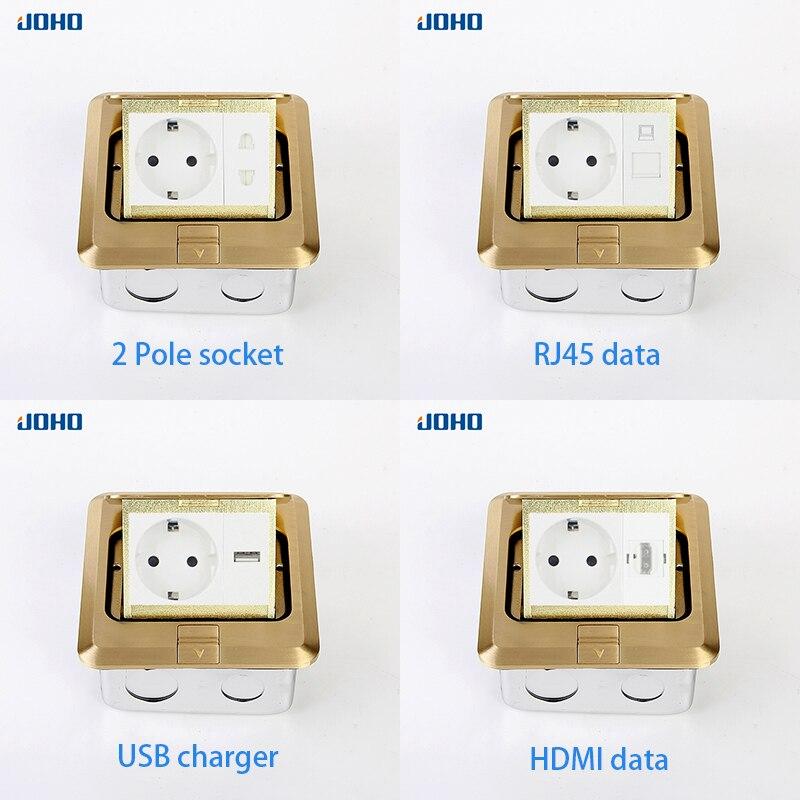 Prise JOHO Pop Up boîte de sortie de prise de sol résidentiel/usage général avec prise européenne 16A et panneau en laiton de données RJ45 - 5