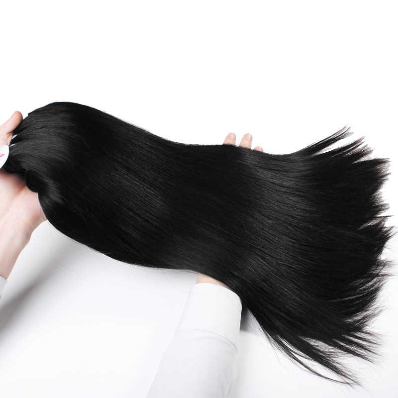 Paquete de Armadura de pelo de visón humano de chica joven virgen brasileña recta de Ali Queen 2 ~ 3 años color Natural