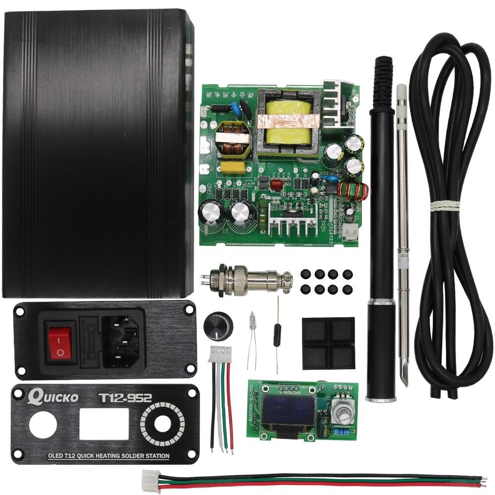QUICKO STC-OLED T12-952 Digitale Temperatur Controller löten Station eisen DIY kits mit Meatal fall und Schwarz Legierung griff