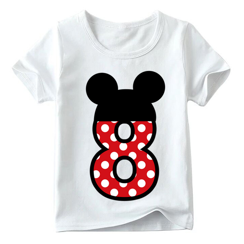 Baby Boys/Girls Happy Birthday Letter Bow Cute Print Clothes Children Funny T shirt,Kids Number 1-9 Birthday Present,HKP2416 23