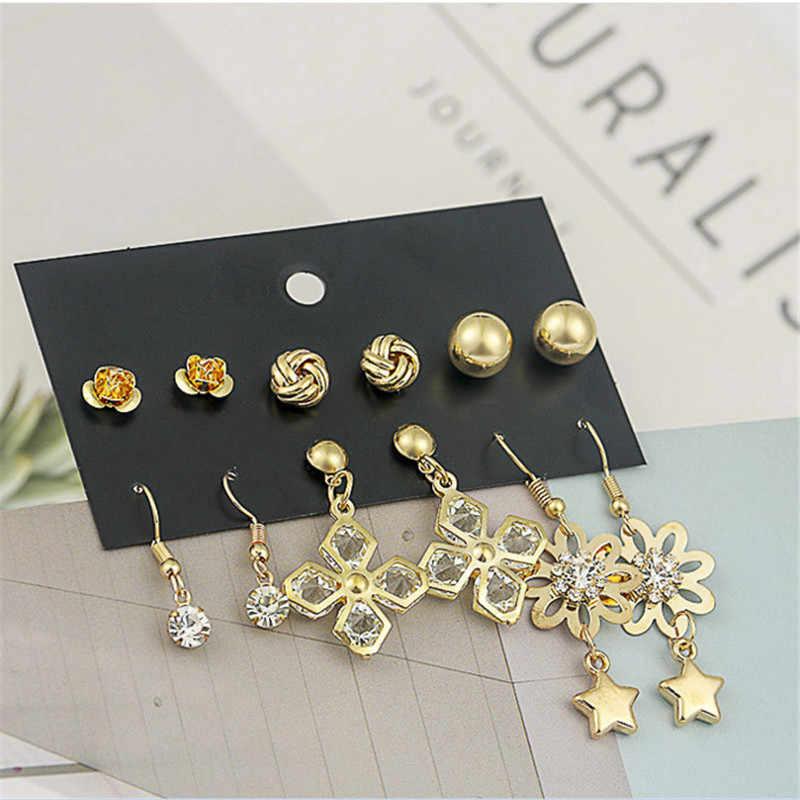 ENZE livraison gratuite mode femmes bijoux 6 paires/ensemble de fleurs lune longues boucles d'oreilles filles Stud boucle d'oreille combinaison bijoux