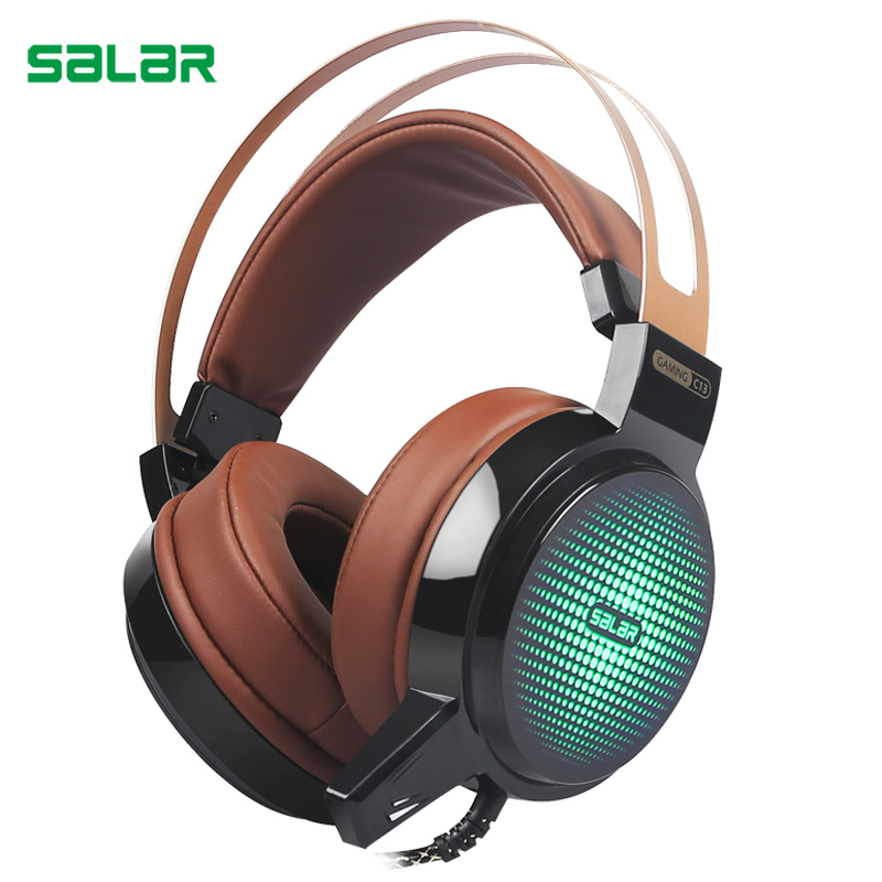 Salar C13 Gaming Big Headset Wired Headband with Mic/LED Light Over Ear Stereo Deep Bass for Computer Gamer Headphones g925 high quality gaming headset studio wire earphones computer stereo deep bass over ear headphone with microphone for pc gamer