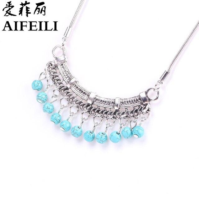 AIFEILI Fashion Classic Bohemia Style Tibetan Silver Necklace Stone Sweater Chain of Pinus Koraiensis Folk Style